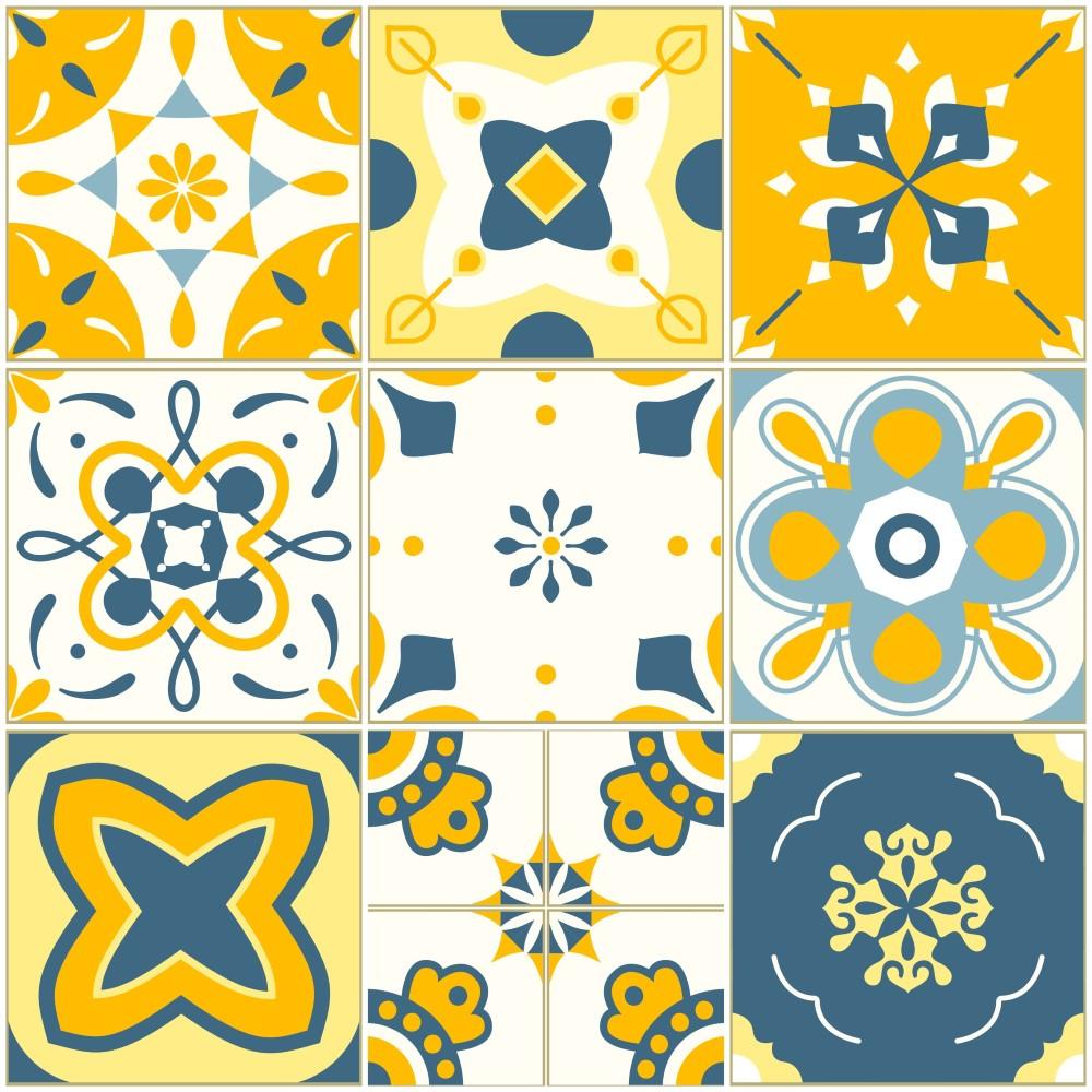 Papel de parede adesivo azulejo barcelona amarelo e azul - Papel pared barcelona ...