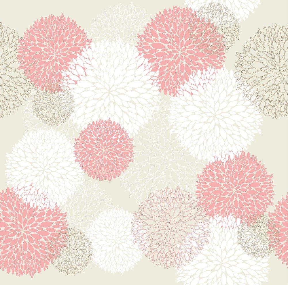 Papel de Parede Adesivo Abstrato Bolas Rosa e Branco