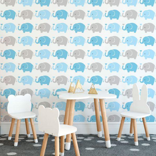 Papel de Parede Adesivo Infantil Elefantes Azul e Cinza