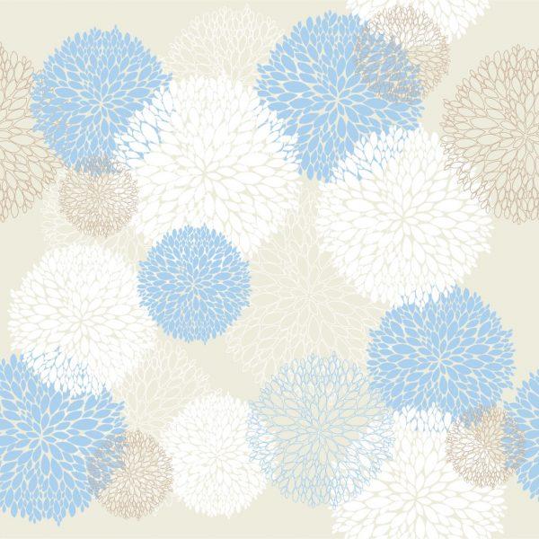 Papel de Parede Adesivo Abstrato Bolas Azul e Branco