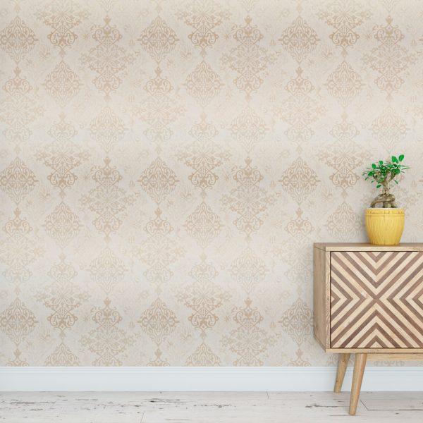 Papel de Parede Adesivo Arabesco Dourado Elementos Floral