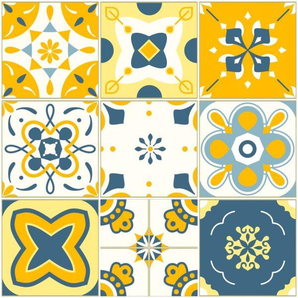 Papel de Parede Adesivo Azulejo Barcelona Amarelo e Azul