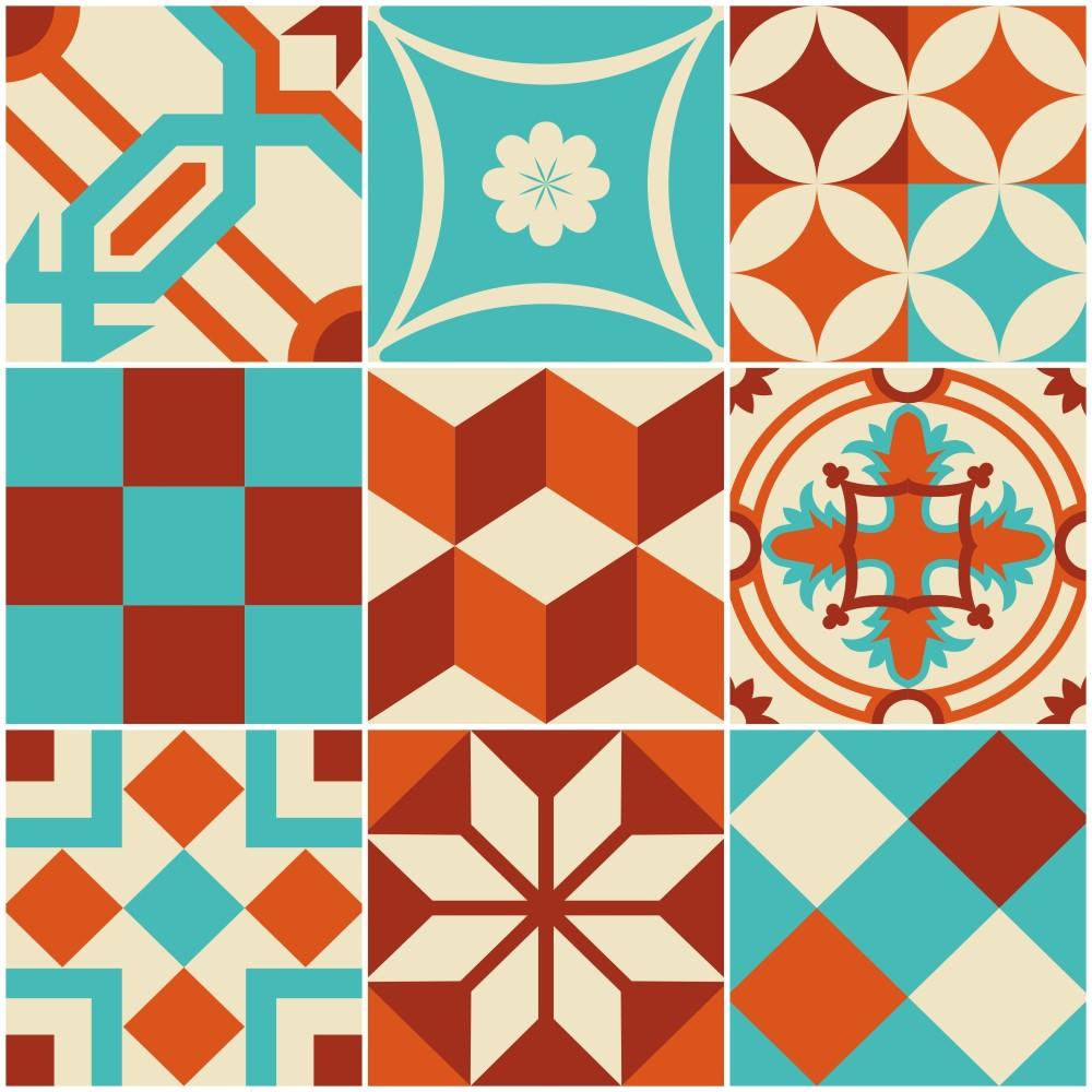 Papel de parede adesivo azulejo portugues lisboa azul e - Cenefas de papel para paredes ...