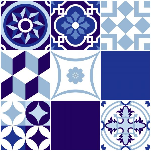 Papel de Parede Adesivo Azulejo Portugues Istanbul Azul e Branco