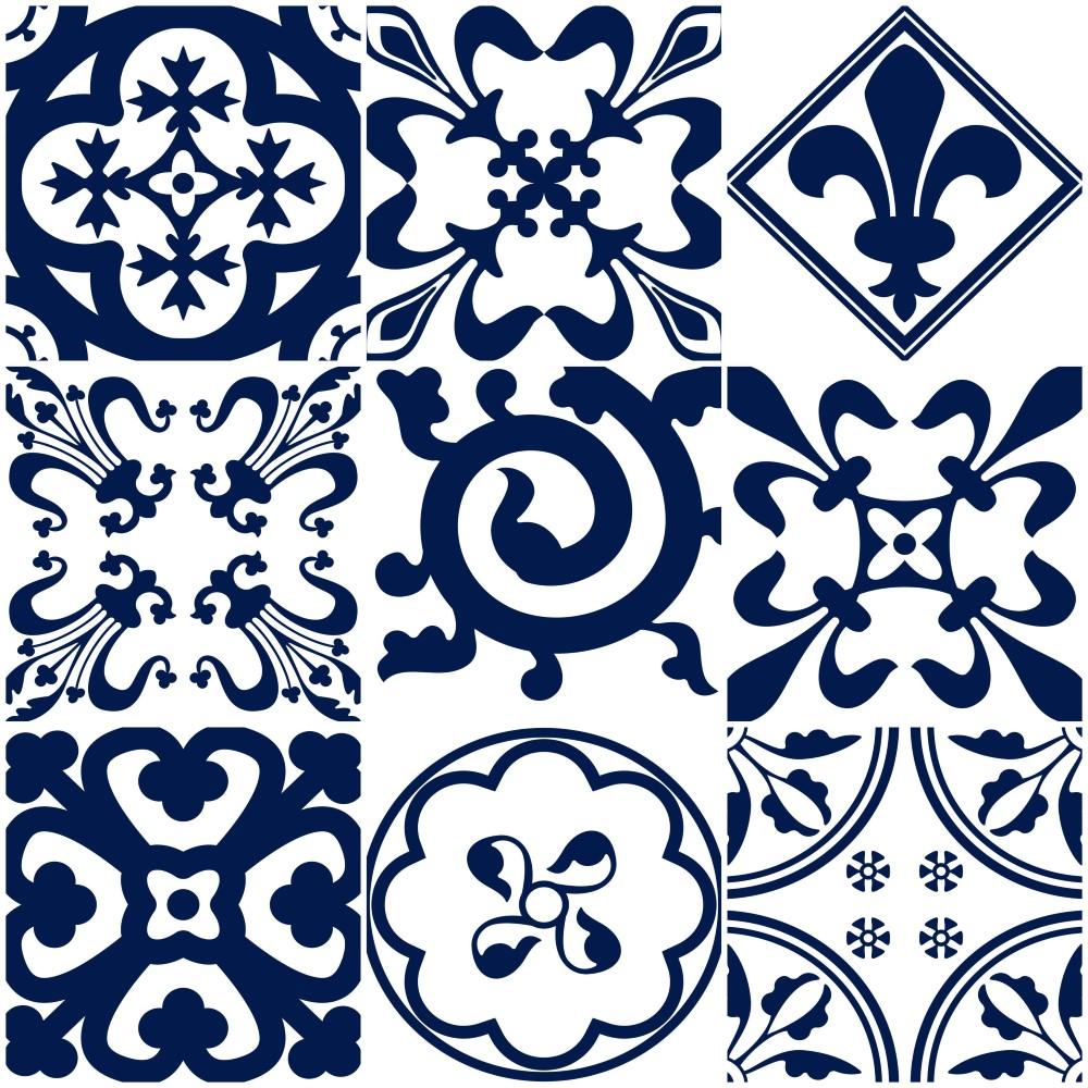 Papel de parede adesivo azulejo portugues lisboa azul e for Azulejos baratos