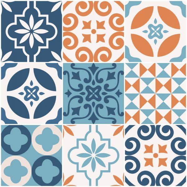 Papel de Parede Adesivo Azulejo Shanghai Laranja e Azul