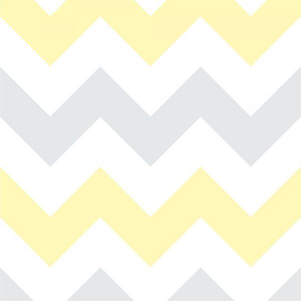 Papel de Parede Adesivo Chevron Amarelo e Cinza