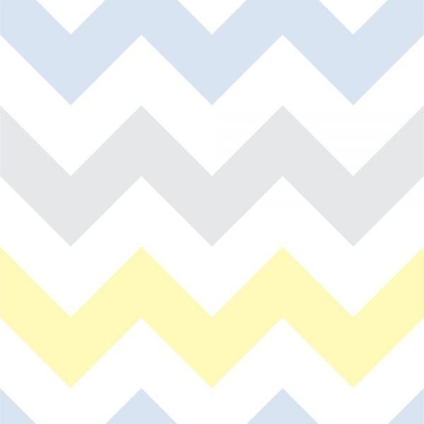 Papel de Parede Adesivo Chevron Azul Cinza e Amarelo
