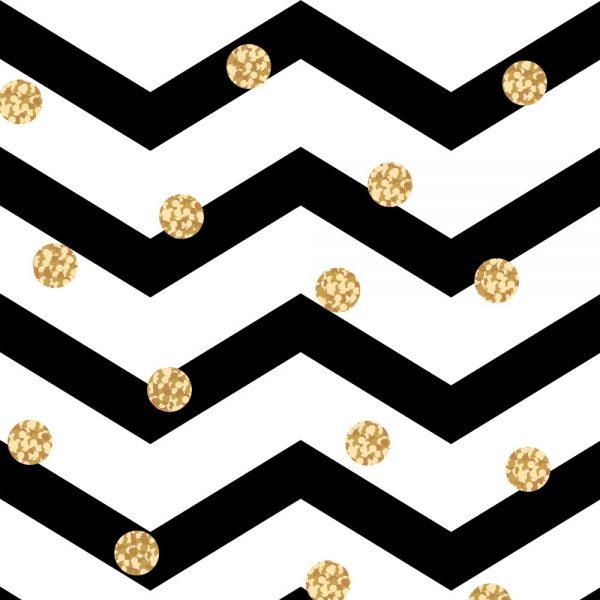 Papel de Parede Adesivo Chevron Preto e Branco com Poás Dourados