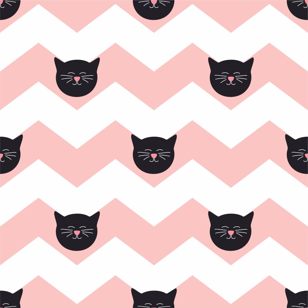 Artesanato Rede ~ Papel de Parede Adesivo Chevron Rosa e Branco com Gatinhos