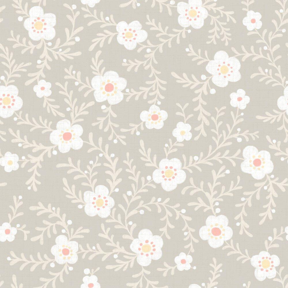 Papel de Parede Adesivo Floral com Fundo Bege