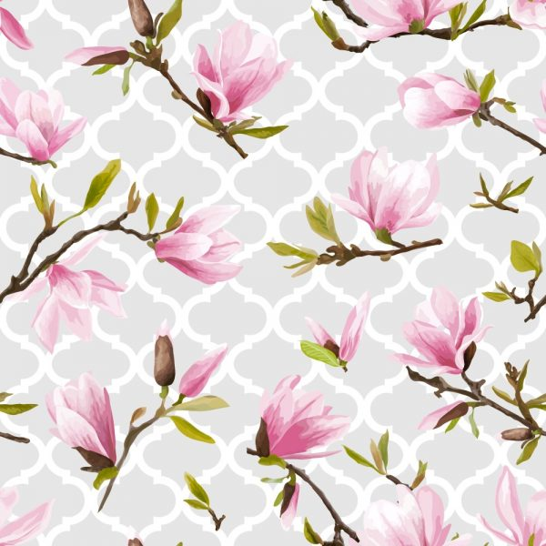 Papel de Parede Adesivo Floral com Geométrico