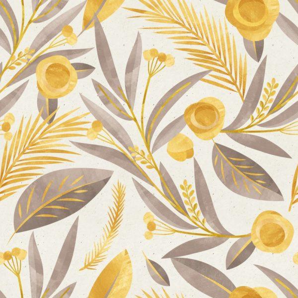 Papel de Parede Adesivo Floral Dourado