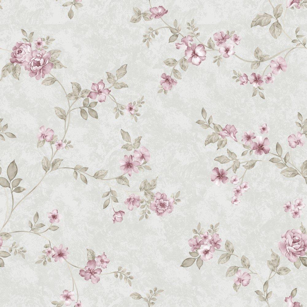 Papel de Parede Adesivo Floral Galhos com Rosinhas