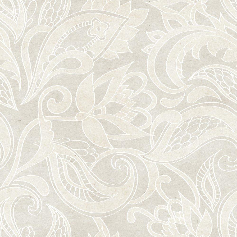 Papel de Parede Adesivo Floral Ornamentos Bege