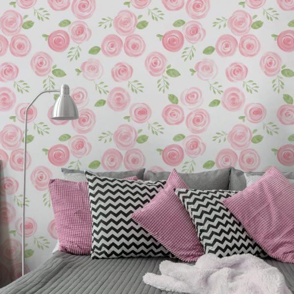 Papel de Parede Adesivo Floral Rosas de Tinta