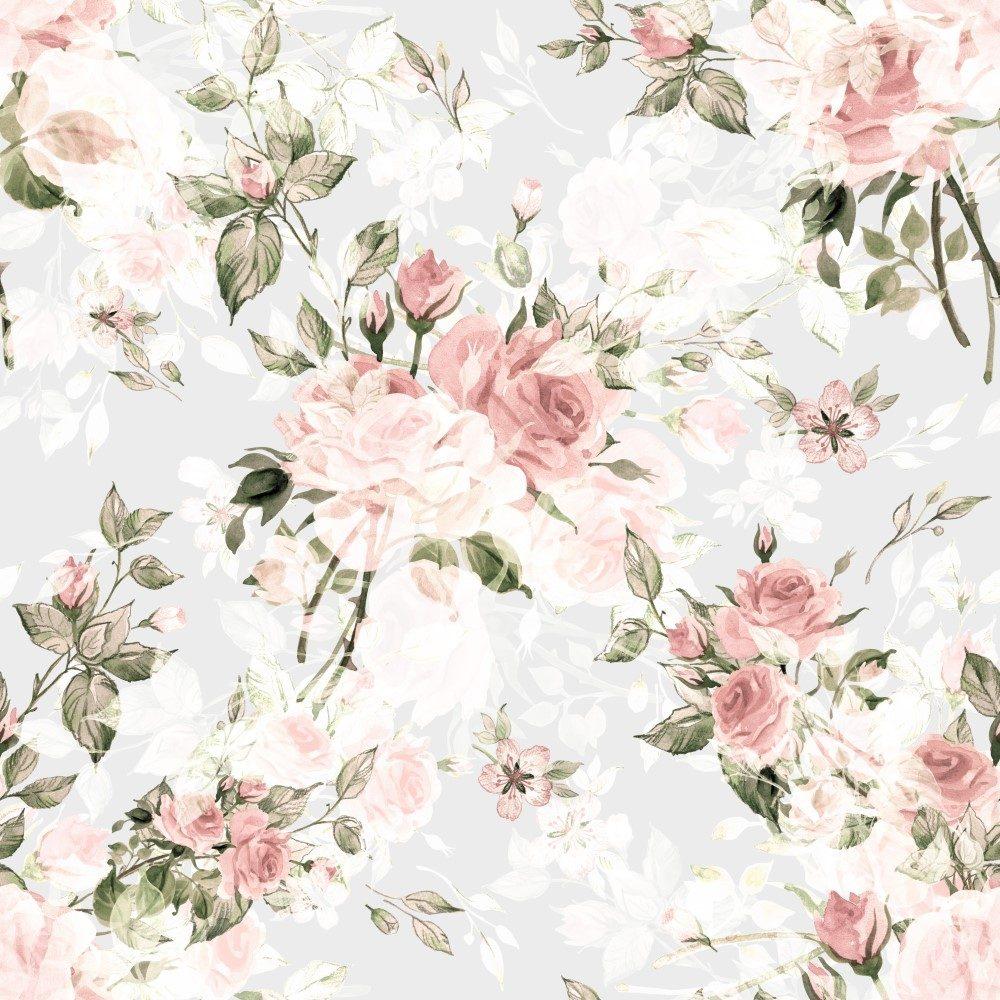 Papel de Parede Adesivo Floral Rosas Vintage
