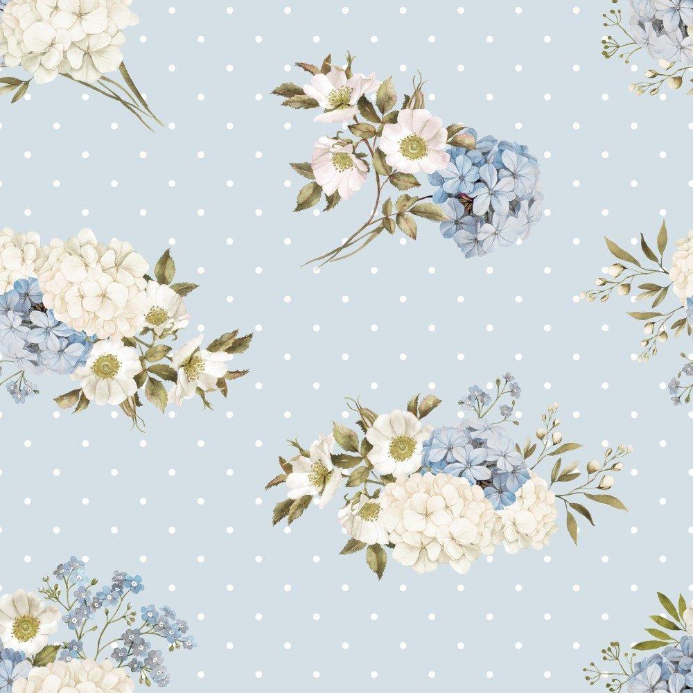 Papel de Parede Adesivo Floral Vintage com Fundo Azul de Poás