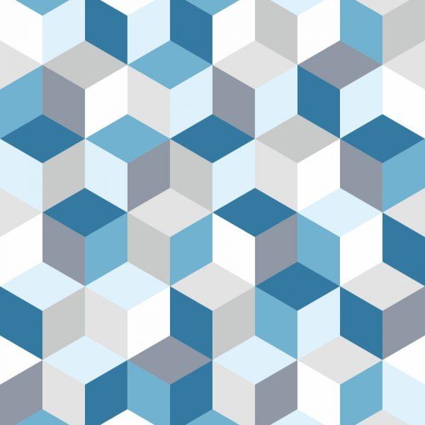 Papel de Parede Adesivo Geométrico Cubos Azul
