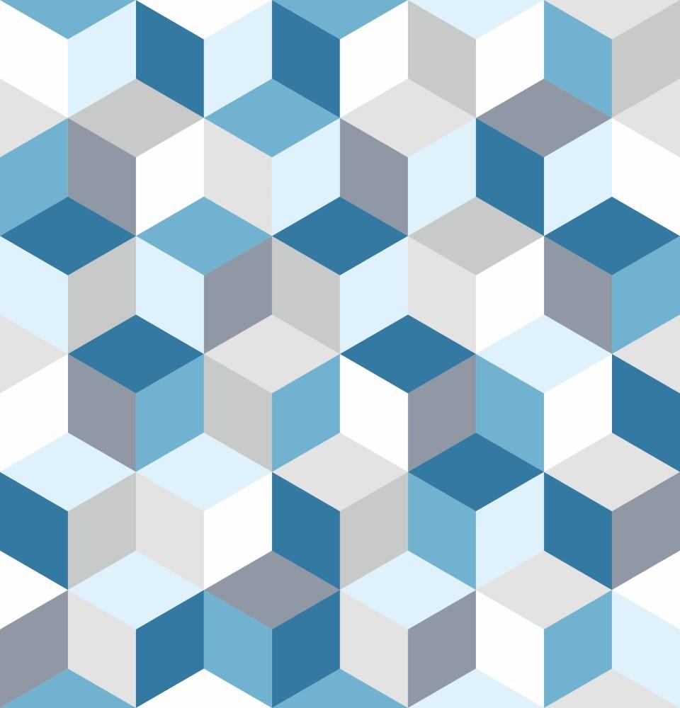 Papel de parede adesivo geom trico cubos azul eucolo - Papel para revestir paredes ...