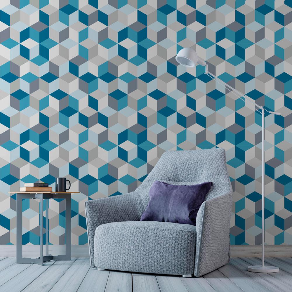 Papel de parede adesivo geom trico cubos azul eucolo - Papel autoadhesivo para paredes ...