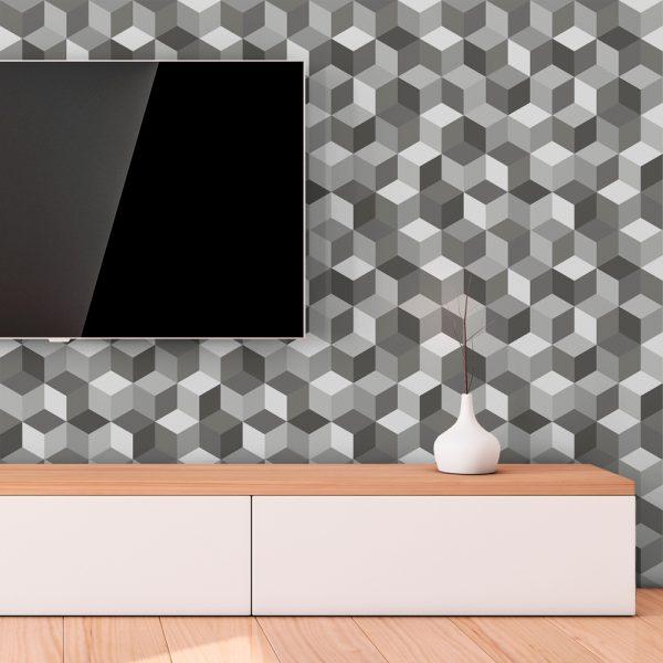 Papel de Parede Adesivo Geométrico Cubos Cinza