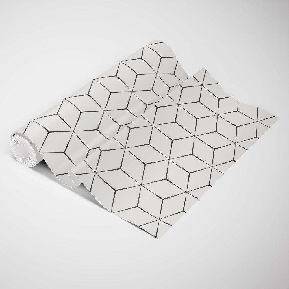 Papel de Parede Adesivo Geométrico Cubos Contorno