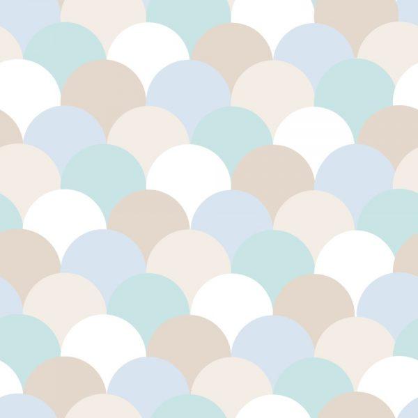 Papel de Parede Adesivo Geométrico Escamas Tons de Azul