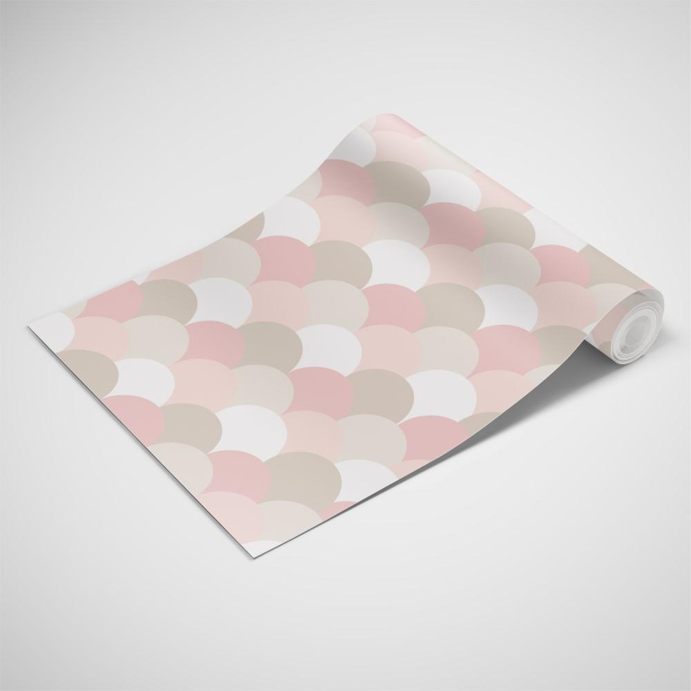 Papel de Parede Adesivo Geométrico Escamas Tons de Rosa