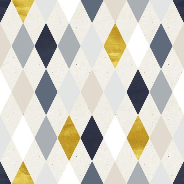 Papel de Parede Adesivo Geométrico Losangos Dourado com Azul