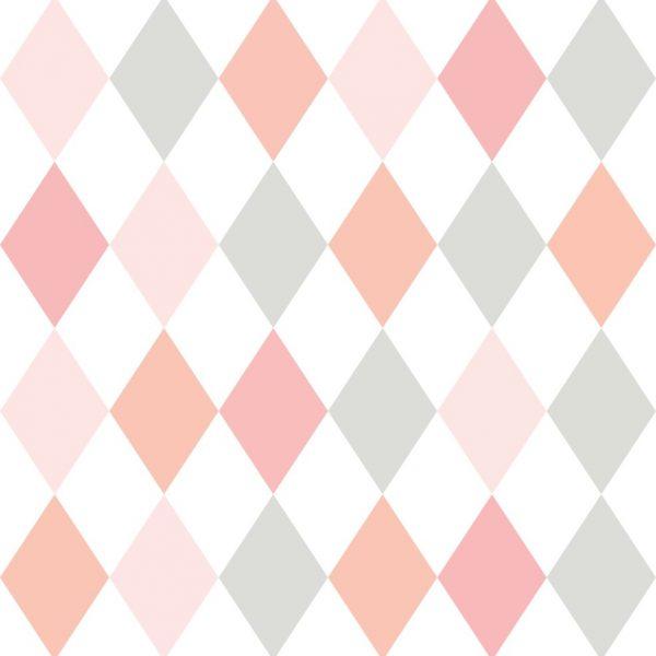 Papel de Parede Adesivo Geométrico Losangos Rosa com Cinza