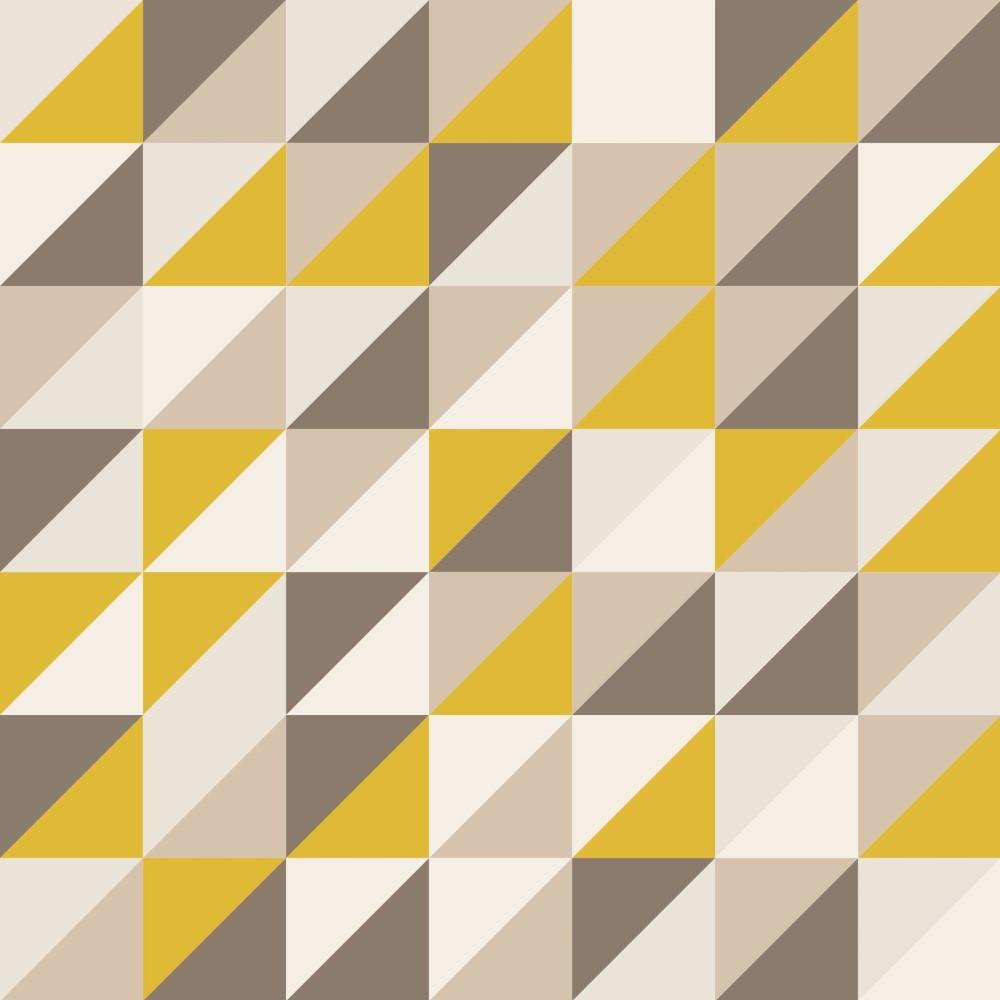 Artesanato Portugues Revenda ~ Papel de Parede Adesivo Geométrico Mosaico Tons de Amarelo com Marrom EuColo