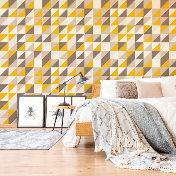 Papel de Parede Adesivo Geométrico Mosaico Tons de Amarelo com Marrom