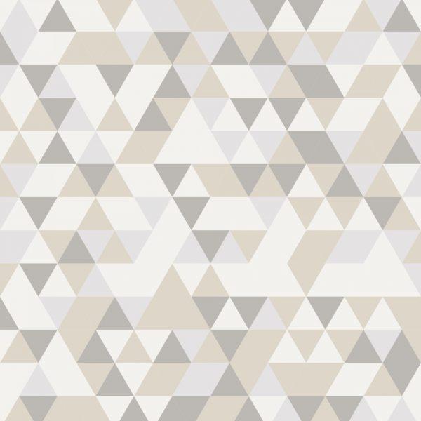Papel de Parede Adesivo Geométrico Mosaico Tons de Bege com Marrom