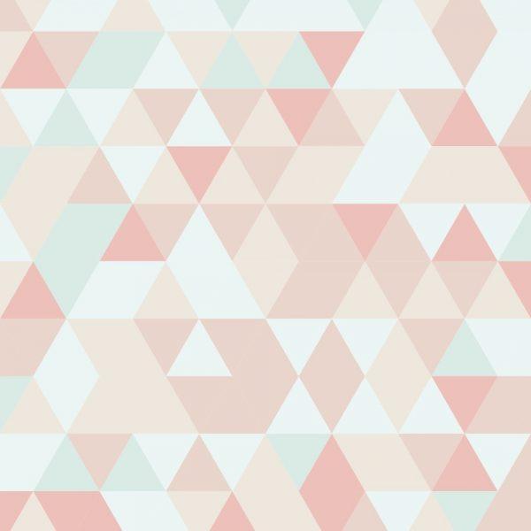 Papel de Parede Adesivo Geométrico Mosaico Tons de Rosa com Azul