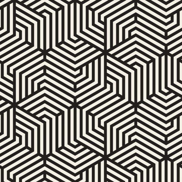 Papel de Parede Adesivo Geométrico Preto e Branco Linhas