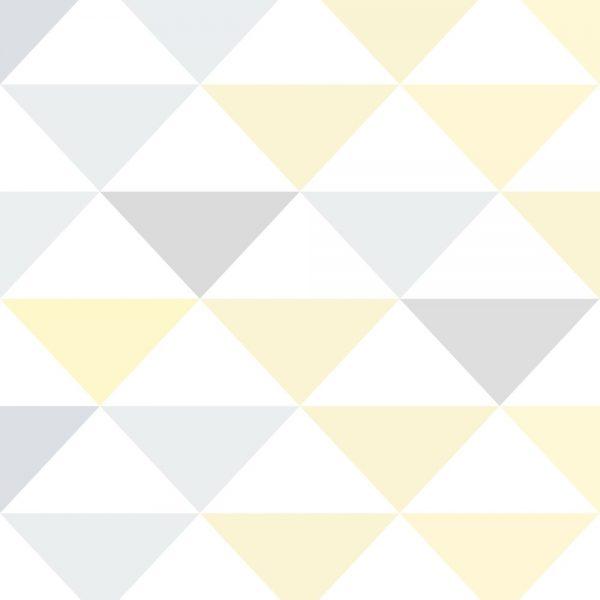 Papel de Parede Adesivo Geométrico Triangulos Tons de Amarelo e Cinza