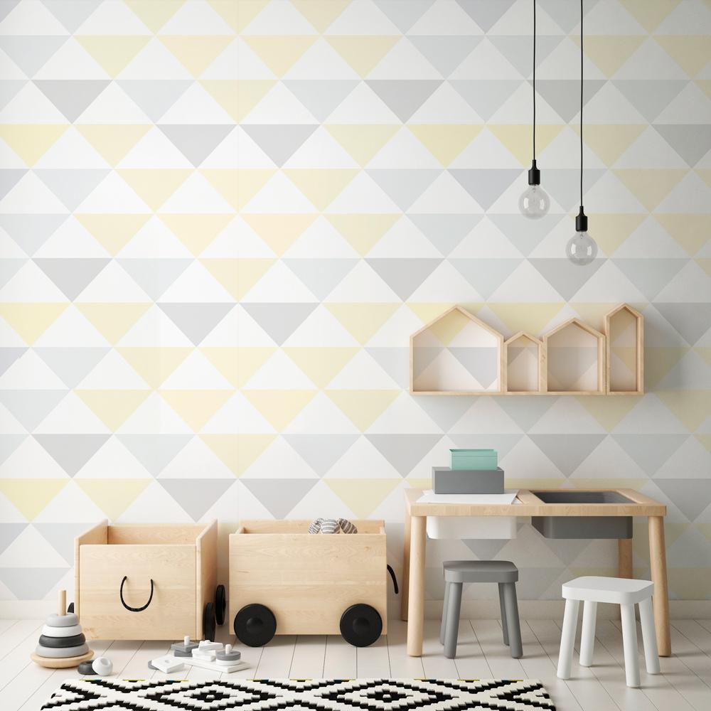 9a4db789d Papel de Parede Adesivo Geométrico Triangulos Tons de Amarelo e Cinza