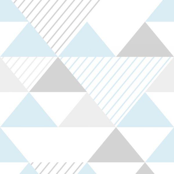 Papel de Parede Adesivo Geométrico Triangulos Azul e Cinza
