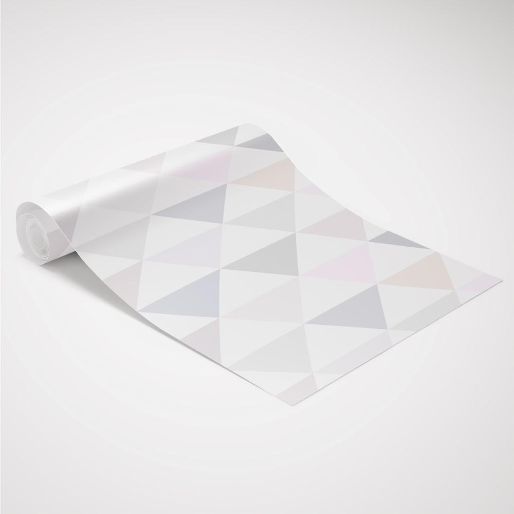 Papel de Parede Adesivo Geométrico Triangulos Bege e Lilás