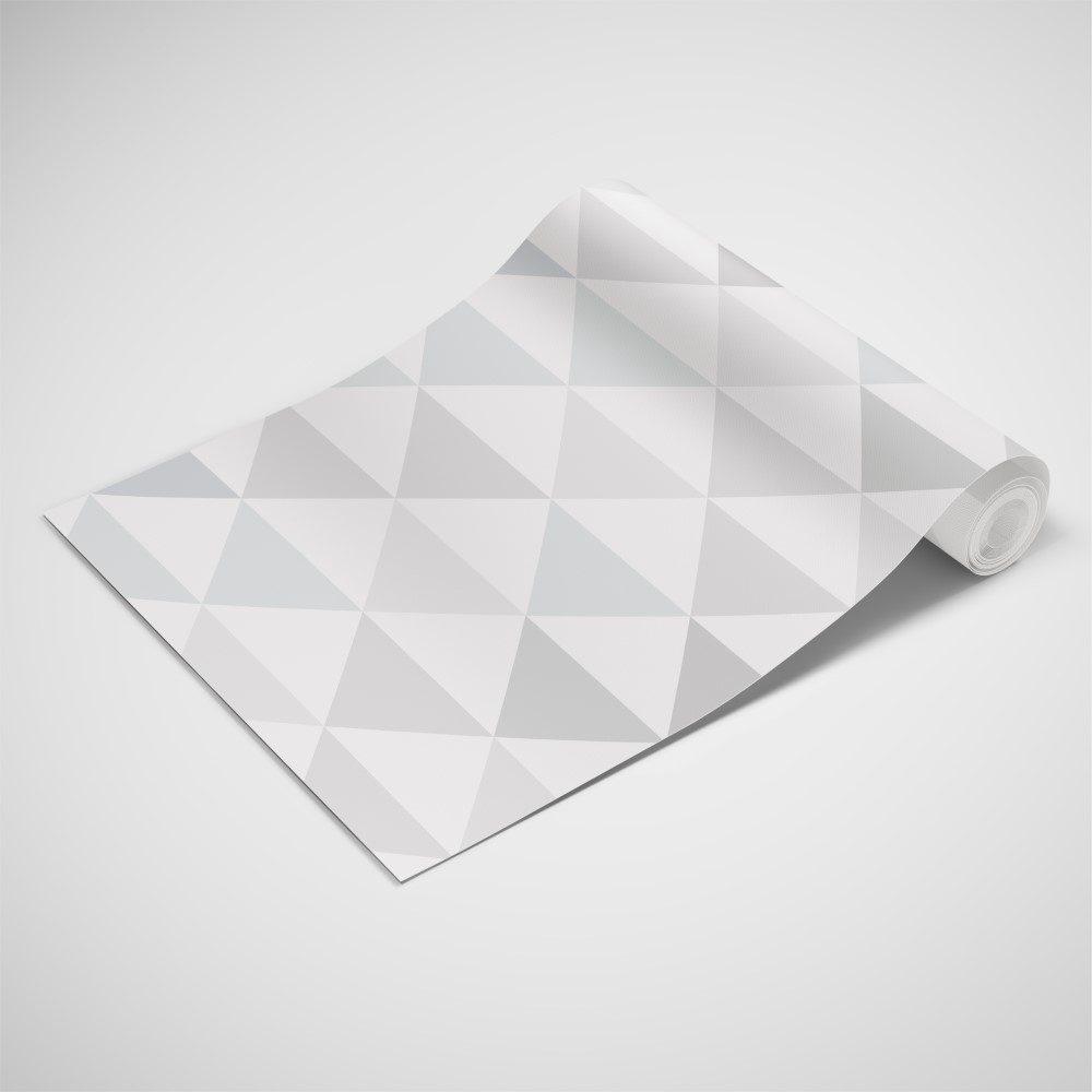 Papel de Parede Adesivo Geométrico Triangulos Cinza
