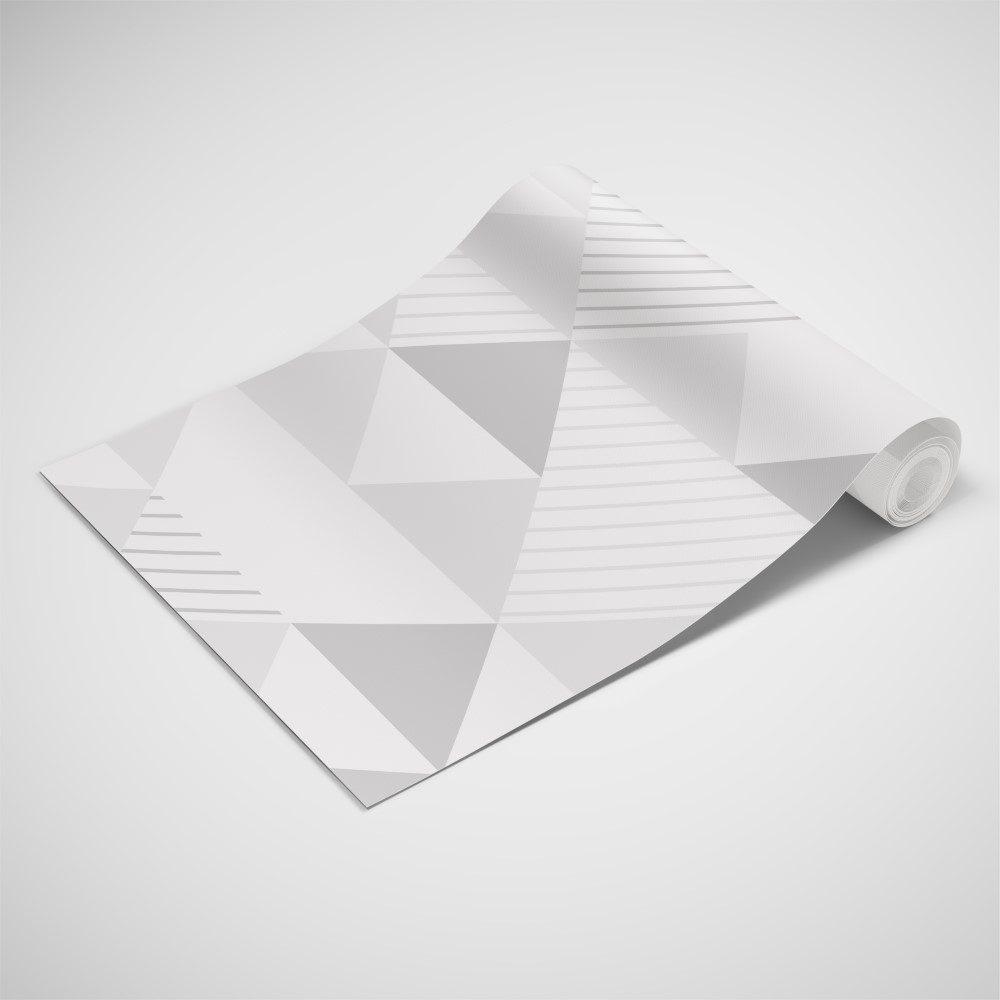 Papel de Parede Adesivo Geométrico Triangulos Tons de Cinza