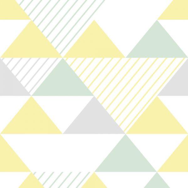 Papel de Parede Adesivo Geométrico Triangulos Cinza Verde e Amarelo