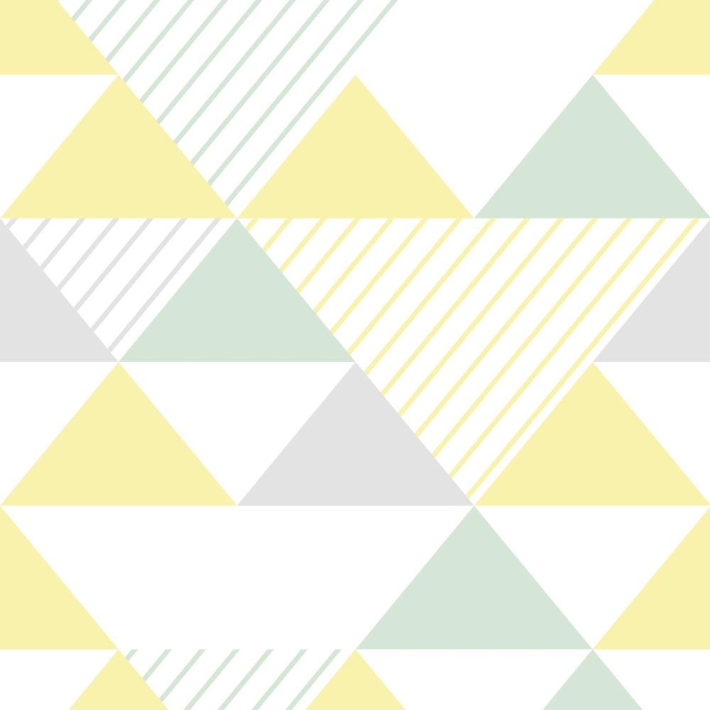 Papel de parede adesivo geom trico triangulos cinza verde - Papel para revestir paredes ...