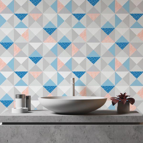 Papel de Parede Adesivo Geométrico Triangulos Divertidos Azul