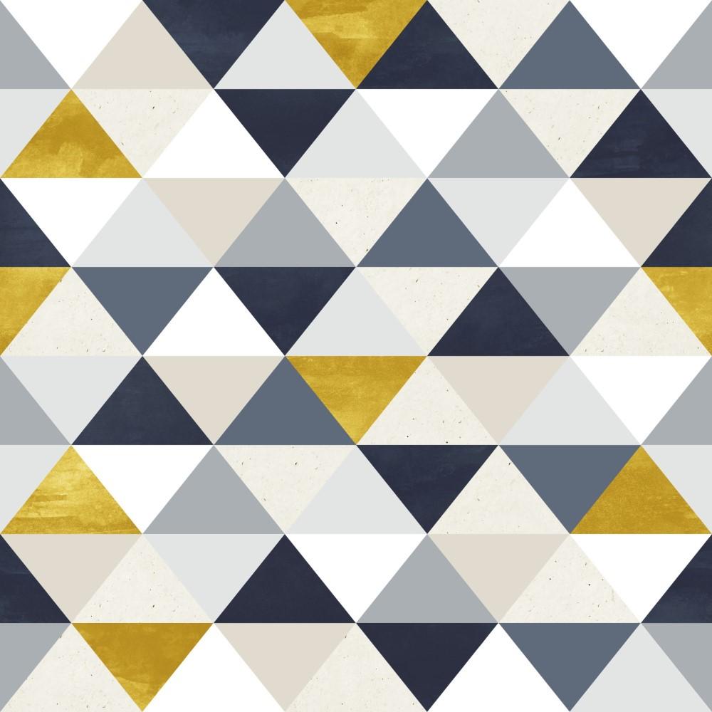 Artesanato Portugues Revenda ~ Papel de Parede Adesivo Geométrico Triangulos Tons de Dourado com Azul EuColo