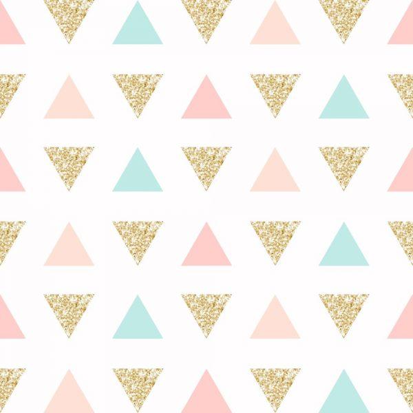 Papel de Parede Adesivo Geométrico Triangulos Gold Rosa e Verde