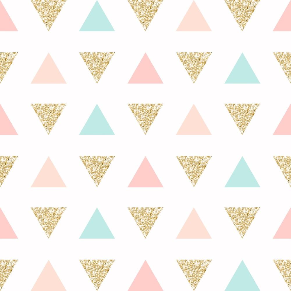Papel de Parede Adesivo Geométrico Triangulos Gold Rosa e Verde EuColo