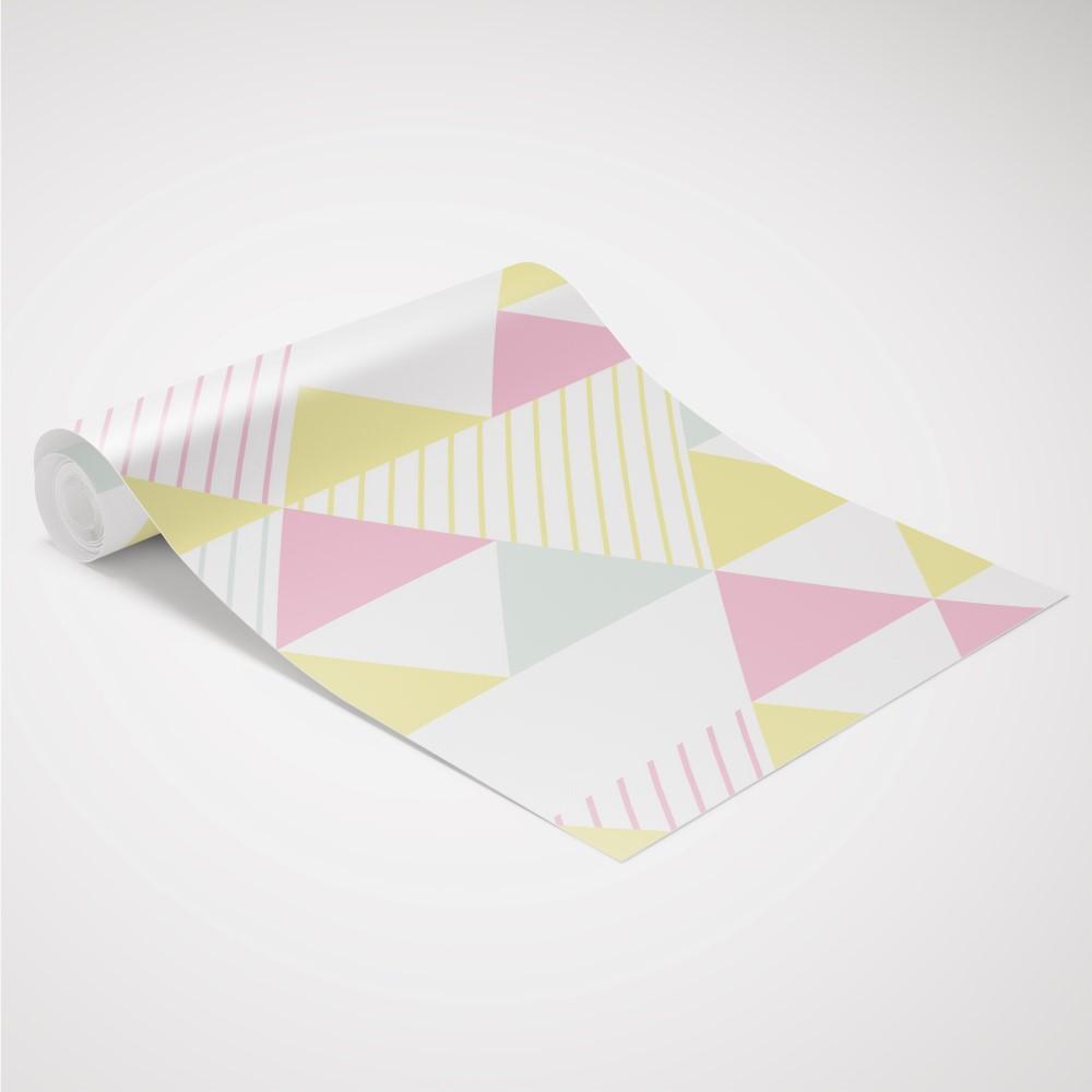 Papel de parede adesivo geom trico triangulos rosa amarelo - Papel para revestir paredes ...