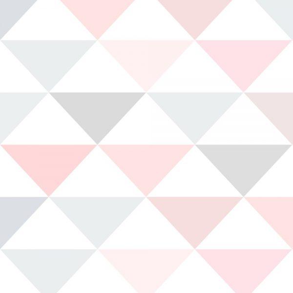 Papel de Parede Adesivo Geométrico Triangulos Tons de Rosa e Cinza